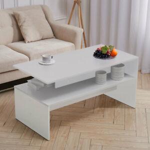 Chipboard Coffee Table Rectangle Living Room Tea Table Geometric Storage Shelves
