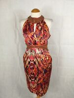 Ladies Dress Size 14 STAR JULIEN MCDONALD Orange Beaded Neck Wiggle Party