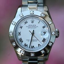 Rolex 26mm Datejust 179174 Ladies Stainless Steel 18K White Gold 12 Diamond Beze