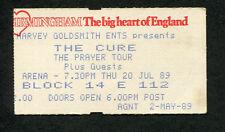 1989 The Cure Unused Full Concert Ticket Prayer Tour Birmingham Disintegration