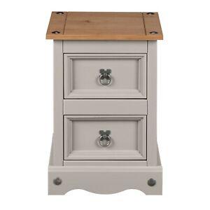 Corona Grey Bedside Cabinet 2 Drawer Bedroom Drawers Side Table Nightstand Wax