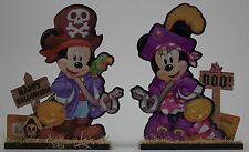 "Disney Happy Halloween 9"" Mickey & Minnie Mouse Glitter Wood Table Top Signs"