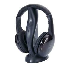 1X 8in1 Wireless Headphone Stereo Headset FM Radio For TV PC CD MP3 Player Black
