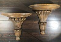 Pair Vintage Oak Hand Carved Sconces Shelves Fluted Wood Acanthus Leaf Detail