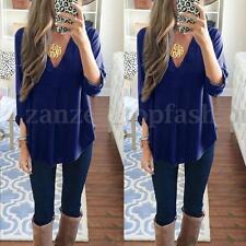 ZANZEA Women V Neck Loose Oversize Solid Long Sleeve Casual Blouse Tops T Shirt