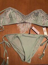 BNWT Ladies Green Fringed Bikini By River Island (Size 14)