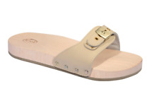 Scholl Pescura Flat Original Wooden Sandals Sliders Clogs in Sand Varous Sizes