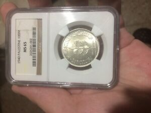 ISRAEL PALESTINE COIN 100 MILS 1940 NGC MS 65 UNC