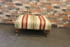 PARKER KNOLL MOSLEY SMALL BENCH, FOOTSTOOL IN JULIA CREAM & RED STRIPE FABRIC