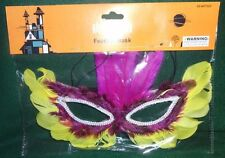 Halloween Yellow and Pink Feather  Mask