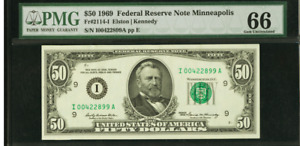 PMG Gem Uncirculated 66. MINNEAPOLIS. Fr. 2114-I $50 1969 Federal Reserve Note.