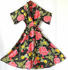 Vtg Robe/Cover-Up Swing Maxi Belted Floral Half Sleeve Size S