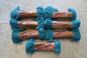 Caron Cotton Terry Yarn Skeins 1.75 oz 85% Cotton 15% Rayon #5004 Turquoise  = 7