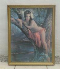 J H Lynch  Woodland Goddess Original Large 60's Print On Hardboard RARE