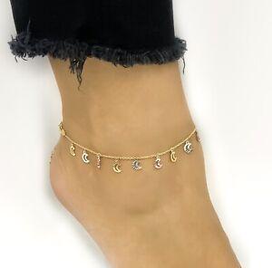 14k Gold Fancy Crescent Moons Tri-Color Anklet Adjustable 9 - 10 Inches