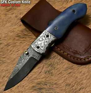 SFK Custom Handmade Damascus Steel Camel Bone Hunting Folding Knife Liner Lock