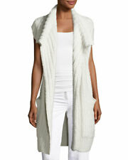 New Calvin Klein Dickens open cap sleeve cashmere cardigan in pale grey