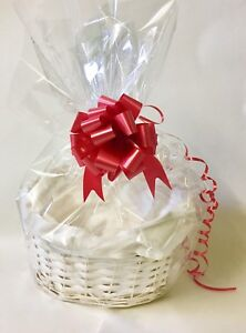 BUFF WHITE OVAL MAKE YOUR OWN HAMPER KIT,BASKET, BOW & CELLOPHANE XMAS CHRISTMAS