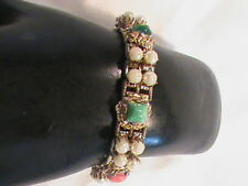 Vintage Book Link Bracelet Faux Pearls Stones and Glass Rhinestone