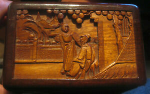 ANTIQUE CHINESE CAMPHOR WOOD CARVED TRINKET/JEWELLERY BOX NICE USABLE SIZE VG
