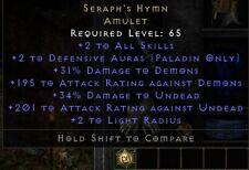 Seraph's Hymn Amulet +2 | Seraphims Pslam | Diablo 2 Resurrected D2R SC PC