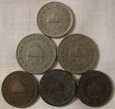 6 ANTIQUE 1893-1896 HUNGARY / MAGYAR COINS 2 FILLER (3) /10 FILLER/20 FILLER (2)