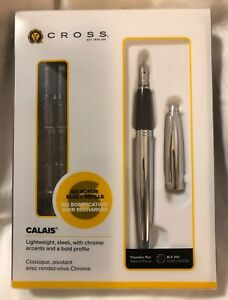 NEW Cross Calais Chrome Fountain Pen + 6-Refills Black Ink Art Deco Style