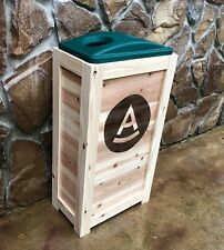 COMMERCIAL RESTAURANT CEDAR RECYCLING BIN FOR CANS BOTTLES  50 GAL WITH Ur LOGO