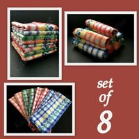 SET OF 8 100% COTTON TEA TOWELS DISH CLOTH  HIGH QUALITY 4 DIFFERENT COLOURS