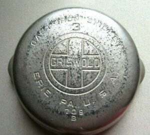 GRISWOLD NO. 3 709 B CHROME PLATED CAST IRON SKILLET LARGE LOGO