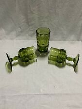 Olive Green Kings Crown Indiana Glass Set