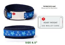 "HEART PATIENT Sport Medical Alert ID Bracelet  6.5"". Free medical Emergency Card"