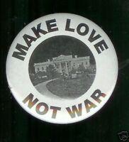 Make LOVE not WAR Clinton Impeachment era comic pin