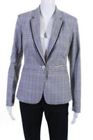 Ecru Womens Plaid Button Blazer Gray Navy Size Extra Large