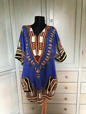 True Rock Free Size 70s Style African Dashiki Tunic Top Multi-Color V-Neck