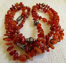 """Carnelian Nugget Stone Silver color beads strand necklace 47""""L"""