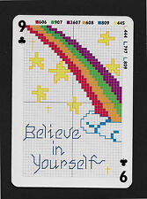 cross stitch rainbow Believe in Yourself playing card single swap nine - 1 card