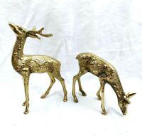 "2 Vintage Solid Brass Buck & Doe Deer Figurines 7.5""and 4.5"" tall"