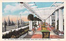 Utah postcard Salt Lake City, Temple Towers from Roof Garden Hotel Utah