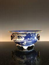 Antique Porcelain Ram's Head Gilt Willow Pattern Ware Fruit Bowl