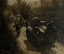WWI Renault Tanks a Motorcycle Going to the Front Stereoview Card Free Shipping