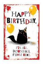 MAD OLD CAT LADY GREETING CARD: ALL DOWNHILL FROM HERE - NEW IN CELLO