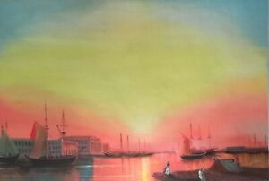 Dream-art Oil painting Busy port city landscape with saild boats sunset canvas