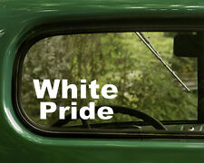 2 WHITE PRIDE DECALs Sticker For Car Truck 4x4 Rv Motorhome Bumper Window Laptop