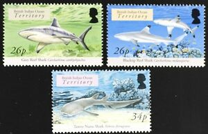 Z622 BIOT BR INDIAN OCEAN 2005 Fish, Marine Life, Sharks set of 3 Mint NH