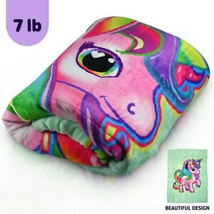 Bell + Howell Kids Unicorn & Car Weighted Blanket For Calmer Deeper Sleep! NEW