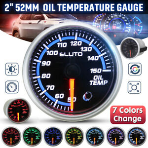 Universal 2'' 52mm LED 50-150°C Oil Temp Temperature Gauge Meter 7 Colors 12V