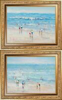 Framed Original Painting, Oil On Canvas, J Morgan Signed, Summer Beach Scenery
