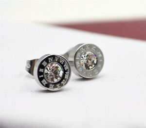 Silver Roman Numerals Gold Titanium Steel Circular Earring Birthday Jewelry