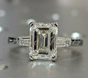 Certified 2.92ct Emerald White Diamond Engagement Ring in 14k Solid  White Gold